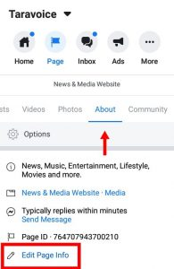 change the facebook page name - about tab